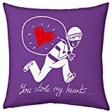 Valentine Gifts for Boyfriend Girlfriend Love Printed Cushion 12X12 Filled Pillow Purple You Stole My Heart Gift for Him Her Fiance Spouse Birthday Everyday Gift