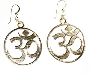 Om Peace Bronze Earrings on French Hooks