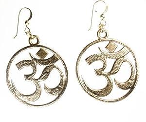 Om Peace Bronze Earrings on French Hooks