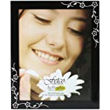 Fetco Home Décor Wilson Floral Corners Picture Frame, Fashion Metals, 8 by 10-Inch, Black with Polished Silver
