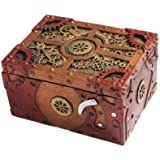 7.75 Inch Steampunk Themed Clockwork Jewelry/Trinket Box Figurine