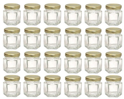 Hexagon Glass Jars, Mini Hex Jars 1.5 Oz - Case of 24