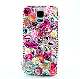 Samsung Galaxy Note 4 Case, Sense-TE Luxurious Crystal 3D Handmade Sparkle Glitter Diamond Rhinestone Ultra-Thin Clear Cover with Retro Bowknot Anti Dust Plug - Butterfly Star / Pink