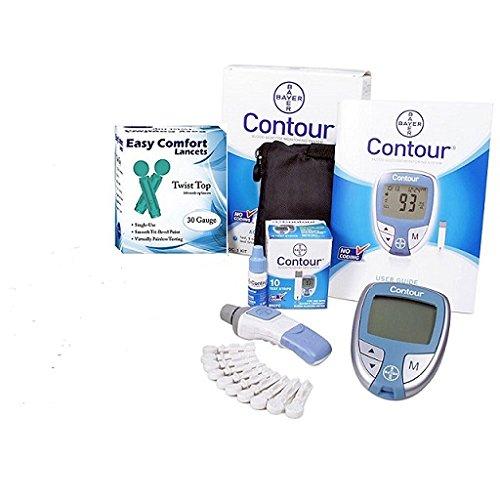 Bayer Contour Complete Diabetic Blood Glucose Testing Kit, Meter, 10 Test Strips, 10 Lancets, Adjustable Lancing Device, Control Solution, Owners Log Book & Manual