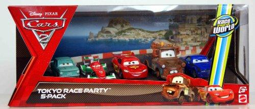 Disney / Pixar CARS 2 Movie Exclusive Die Cast Car 5Pack Tokyo Race Party A Trunkov, Francesco Bernoulli, Lightning McQueen, Wasabi Mater Rod Torque Redline
