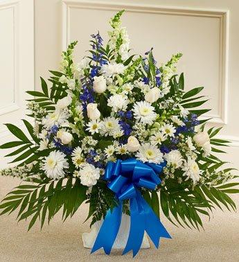 1-800-Flowers – Tribute Blue & White Floor Basket Arrangement – Large