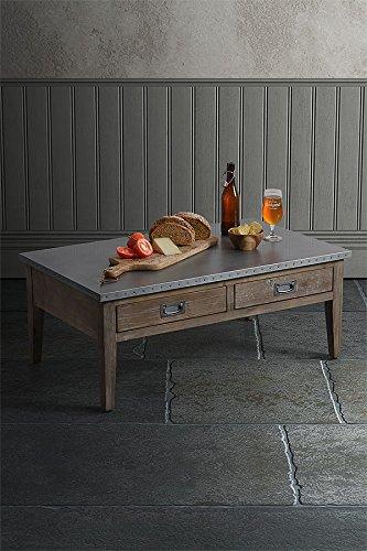 MY-Furniture HEMMINGWAY - Tavolino da caffè in legno riciclato e in acciaio