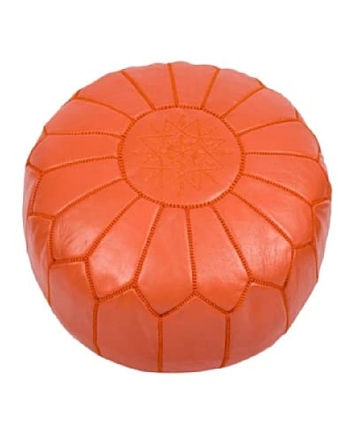 Hotel Marrakeche Moroccan Leather Pouf Ottoman, Orange