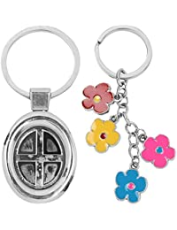 Atul's Gallery Silver And Multicolor Keychain (Pack Of 2)