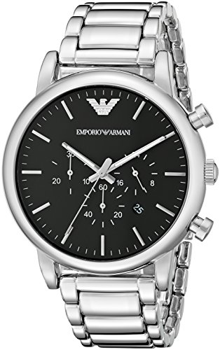 Emporio Armani Men's AR1894 Classic Stainless Steel Watch with Black Dial (Emporio Armani Black Dial compare prices)
