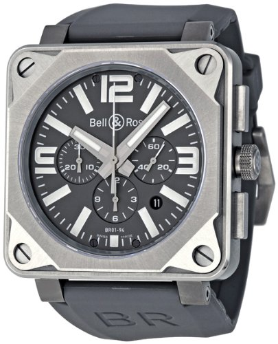 Bell & Ross Men's BR01-94PROTITNM Aviation Grey Rubber Strap Watch