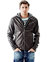 GUESS Men's Faux-Leather Biker Jacket with Removable Hood
