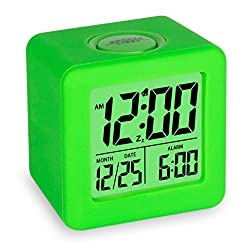 Plumeet Easy Setting Travel Alarm Clock with Snooze,Soft Nightlight,Cute Silicone Cover,Digital Alarm Clock Large Display Time & Month & Date & Alarm, Batteries Powered (Neon Green)