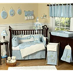 Sweet Jojo Designs Go Fish Blue Ocean Under the Sea Baby Boy Bedding 9pc Crib Set