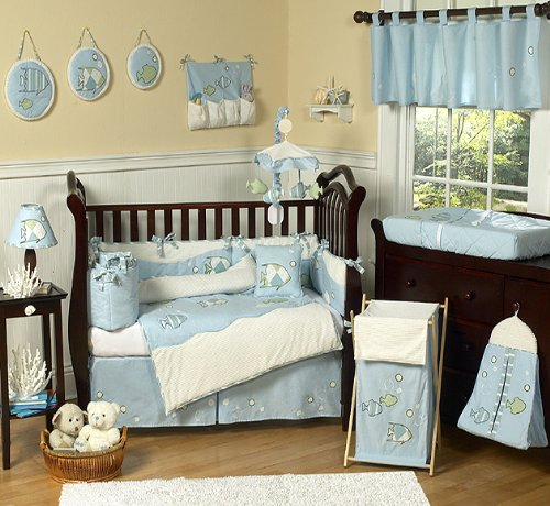 Go Fish Blue Ocean Under The Sea Baby Boy Bedding 9Pc Crib Set By Sweet Jojo Designs front-231713