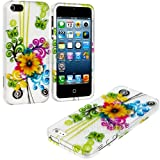 myLife Yellow Sunflower and Colorful Swirls Series (2 Piece Snap On) Hardshell Plates Case for the iPhone 5/5S (5G) 5th Generation Touch Phone (Clip Fitted Front and Back Solid Cover Case + Rubberized Tough Armor Skin)