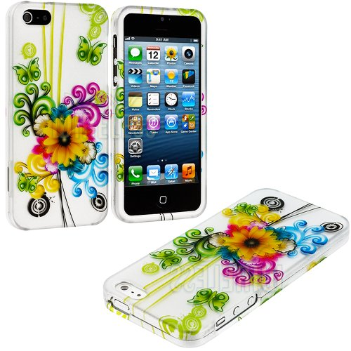 Mylife (Tm) Yellow Sunflower And Colorful Swirls Series (2 Piece Snap On) Hardshell Plates Case For The Iphone 5/5S (5G) 5Th Generation Touch Phone (Clip Fitted Front And Back Solid Cover Case + Rubberized Tough Armor Skin + Lifetime Warranty + Sealed Ins