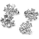 4pcs Mini Flower Pin Brooch Clips Rhinestone Decoration Wedding Silver