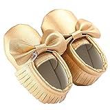 waylongplus Prewalker infantil suave soled borla Bowknots Cuna zapatos PU Moccasins dorado dorado Talla:12 (6-12 Months)