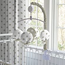 Carousel Designs Taupe and White Dots and Stripes Musical Mobile