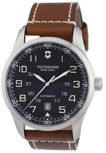 Victorinox Swiss Army Men's AirBoss Mechanical 241507 Brown Calf Skin Swiss Automatic Watch with Black Dial