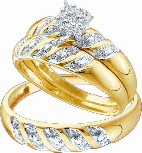 Men's Ladies 10k Yellow and White Gold .1 Ct