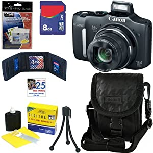 Canon PowerShot SX160 IS 16.0 MP Digital Camera with 16x Optical Zoom with 3.0-Inch LCD (Black) + 6pc Bundle 8GB Accessory Kit