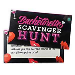 Bachelorette Scavenger Hunt Game - Naughty-ish Party Favor designed to get the Fun and Drinks Flowing - Supply for Ladies' and Girls' Night Out - Scratch Items off Dare List - Up to 24 players
