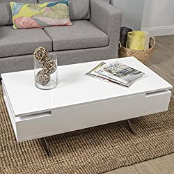 Stelar White Lacquer Lift-Top Rectangular Coffee Table
