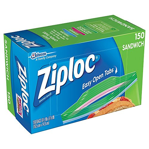 Ziploc Sandwich Bags, Pack of 150, 6.5 x 5.875-Inch