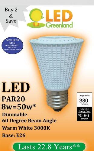 (2 Pack) Par20 Led Light Bulb 8Watt Dimmable 380 Lumens Warm White