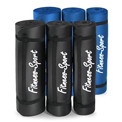 Gymnastikmatte, Fitness-Sport für Pilates, Yoga, Sport, Übungen, 0,8 / 1,0 / 1,5 cm, blau oder schwarz, 180 x 60 cm