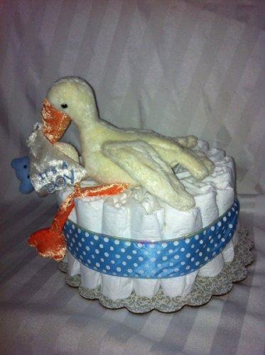 Boy Stork Mini Diaper Cake - Baby Shower Gift Or Centerpeice