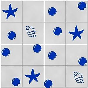 30 mar shels di mare stelle bubbles adesivi per for Autoadesivi per piastrelle