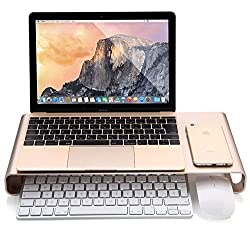 Laptop Stand, IVSO Universal Aluminum Smart Monitor/ PC Stand with Four USB Ports Hub and Keyboard Storage Space for PC, Laptop, iMac, MacBook and more(Gold)