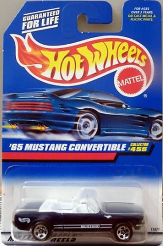Mattel Hot Wheels 1998 1:64 Scale Black 1965 Ford Mustang Convertible Die Cast Car Collector #455 - 1