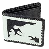Leather Bifold Wallet, Coin Pocket, White w/ Stingray Design Inlay