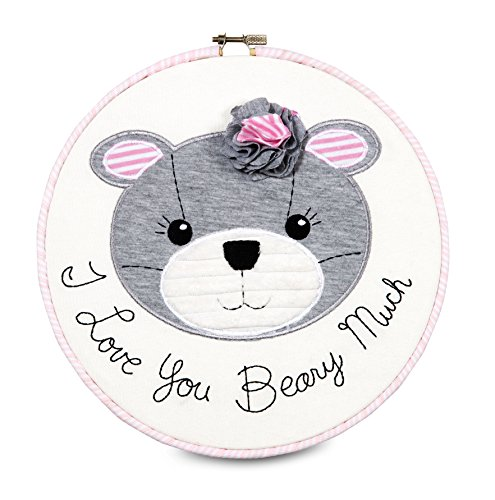"Pavilion Gift Company Embroidered Wall Covering, 9-1/2"", I Love You Beary Much"