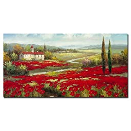 Trademark Fine Art Field of Poppies by Master\'s Art Canvas Wall Art, 24x47-Inch