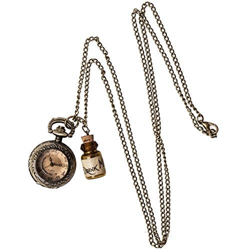 Collana Alice nel paese delle meraviglie, Drink me, Orologio vintage, gioielli, Watch