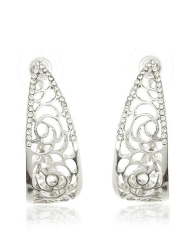 My Silver Pendientes Aro Plata Cristal Filigrana