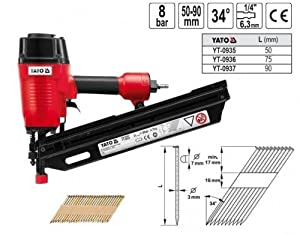 Druckluft Nagler Streifennagler Druckluftnagler für DKopf Nägel 34° 5090 mm   Kundenbewertung und Beschreibung