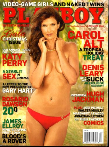Playboy Magazine (Contents Image) December 2008 Twins, Carol Alt, Denis Leary, Katy Perry, Hugh Jackman, Rosario Dawson, James Ellroy (Volume 55 Number 12)