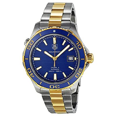 Tag Heuer Aquaracer Blue Dial Yellow Gold Plated and Stainless Steel Mens Watch WAK2120.BB0835 by Tag Heuer