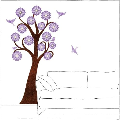 6 foot Lavender Flowering Tree Wall Sticker and Birds for Girls Room   Peel & Stick and Removable