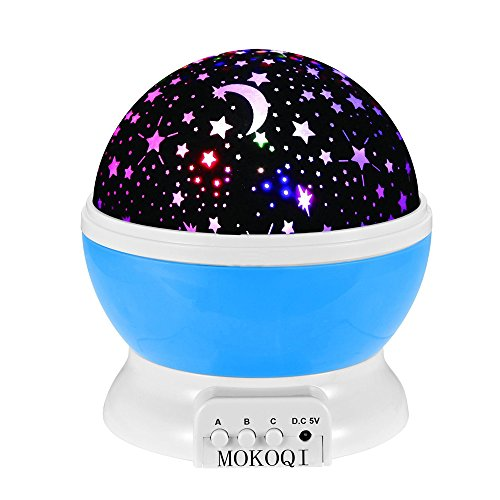 Night Lighting Lamp [ 4 LED Beads, 3 Model Light, 4.9 FT (1.5 M) USB Cord ] Romantic Rotating Cosmos Star Sky Moon Projector , Rotation Night Projection for Children Kids Bedroom (Blue)