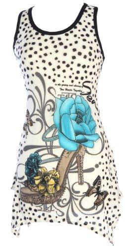 X&Z Fashion Women'S Floral Print Top Lace Back Summer Dresses (Medium/Large, Blue)