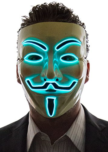 Neon Nightlife Men's Light Up V for Vendetta, Guy Fawkes Mask, One Size