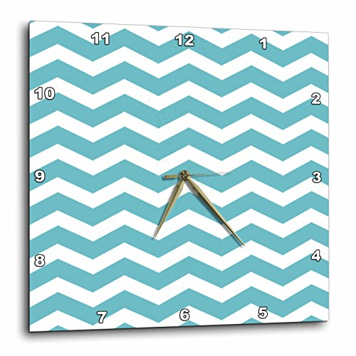 InspirationzStore Chevron Patterns - Teal and White Chevron Zig Zag Pattern - Trendy Modern stylish turquoise aqua blue zigzag stripe - 10x10 Wall Clock (dpp_120239_1)