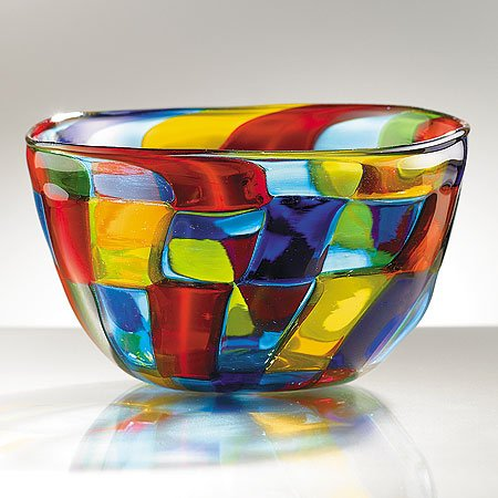 Smithsonian Mosaic Murano Glass Centerpiece Bowl